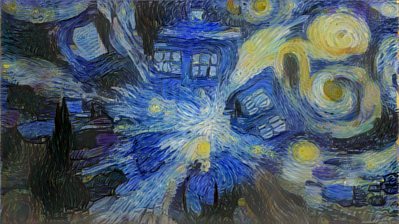 TARDIS exploding styled using Starry Night